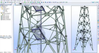 Параметрическая модель опорной башни факельного ствола