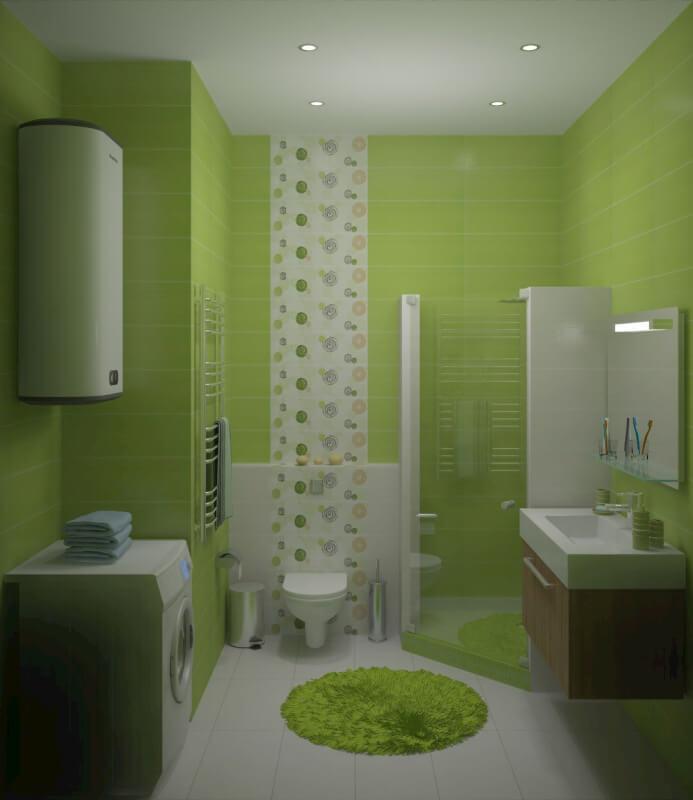 Ванная с душевой кабиной салатовый цвет фото